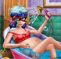 Pregnant dotted girl spa